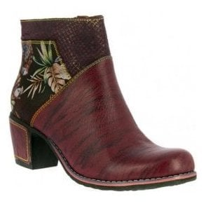 Womens Christie 05 Wine Zip Up Heeled Ankle Boots