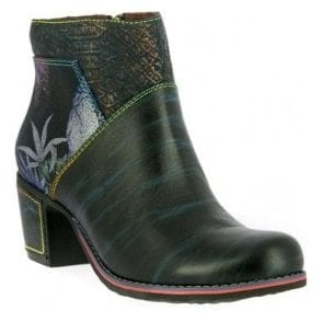 Womens Christie 05 Blue Zip Up Heeled Ankle Boots