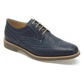 Mens Tucano Vintage Navy Leather Derby Brogue Shoes