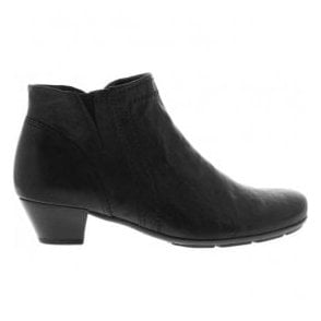 Womens Heritage Black Leather Heeled Ankle Boots 75.638.27