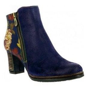 Womens Angela 14 Blue Zip Up Heeled Ankle Boots