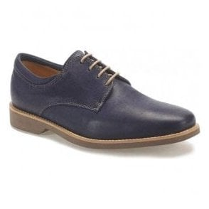 Mens Delta Vintage Navy Leather Derby Shoes