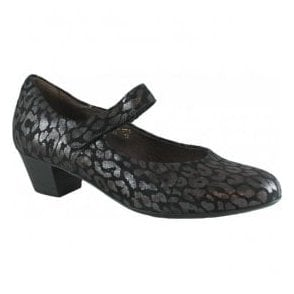 Womens Hilaria Black/Silver Leather Mary Jane Shoes 358303 164 001