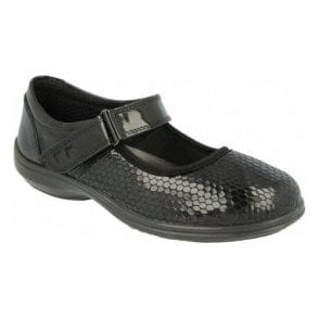 Womens Juliet Black Patent/Honeycombe Mary Jane Shoes