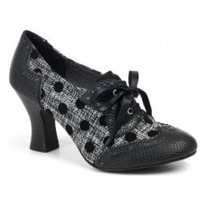 Womens Daisy Black Spots Lace Up Court Shoes 09128