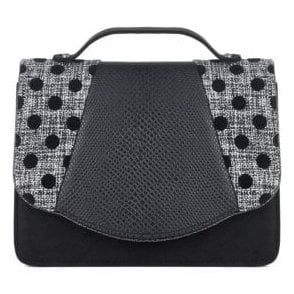 Womens Belfast Black Spots Clutch Handbag 50090