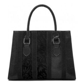 Womens Panama Black Structured Handbag 50104