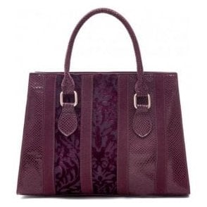 Womens Panama Burgundy Structured Handbag 50104