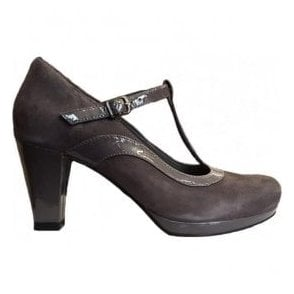 Womens Chorus Pitch Dark Grey Leather/Suede Combi T-Bar Shoes