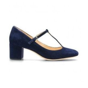 Womens Orabella Fern Navy Suede T-Bar Shoes