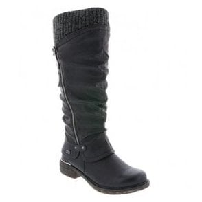 Womens Eagle Black Waterproof High Leg Knitted Boot With Side Zip 98956-00
