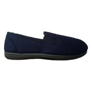 Mens King Twin Navy Felt Fabric Slippers