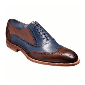 Mens Valiant Ebony/Navy Hand Painted Lace-Up Brogue Shoes