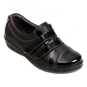 Womens Fargo Black/Patent Extra Wide Shoes