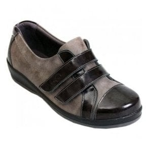 Womens Fargo Grey/Patent Extra Wide Shoes