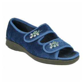 Womens Ace 2 Navy Velcro Wide Fitting Slippers 71075N EE-4E (2V)