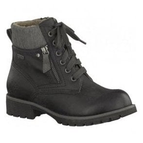 Womens Black Waterproof Lace Up Ankle Boots 8-8-26212-29 001