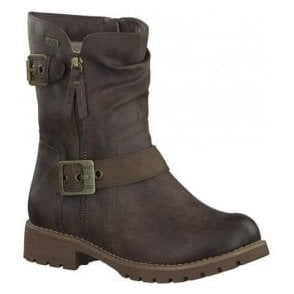 Womens Dark Brown Buckle Strap Waterproof Ankle Boots 8-8-26408-29 390
