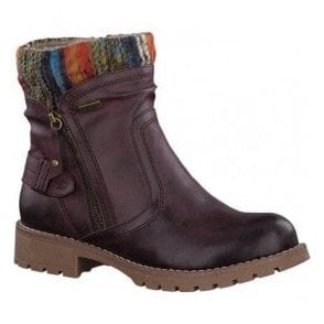 Womens Bordeaux Knitted Collar Waterproof Ankle Boots 8-8-26420-29 549