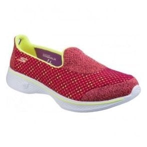 Womens Pink/Lime Go Walk 4 - Kindle Walking Shoes SK14145