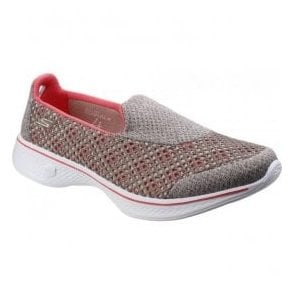 Womens Taupe/Coral Go Walk 4 - Kindle Walking Shoes SK14145