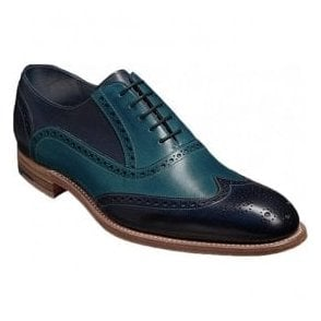 Mens Valiant Navy/Blue Hand Painted Lace-Up Brogue Shoes