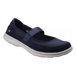 Womens Navy Go Step - Snap Mary Jane Walking Shoes SK14325