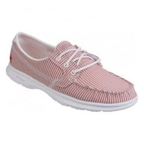 Womens Red/White Go Step - Sandy Moccasin Walking Shoes SK14419