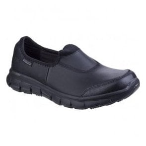 Womens Black Sure Track Slip Resistant Slip On Work Shoes