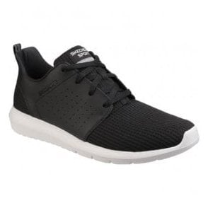 Mens Black/White Foreflex Lace Up Trainers SK52390