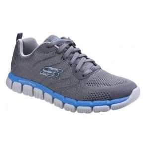 Mens Charcoal/Blue Skech-Flex 2.0 - Milwee Lace Up Trainers SK52619