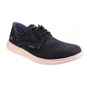 Mens Black Relaxed Fit: Status-Borges Lace Up Trainers SK64629