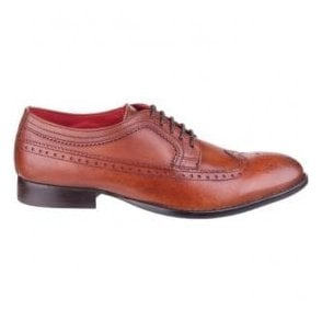 Mens Bailey Tan Grained Leather Derby Shoes