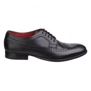 Mens Bailey Black Waxy Wing Tip Formal Shoes