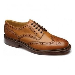 Mens Chester Tan Full Brogue Lace Up Shoes