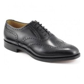 Mens Black Oxford Front Brogue Shoes 758B2