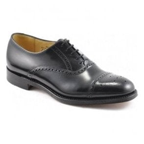 Mens Oban Black Leather Semi Brogue Shoes
