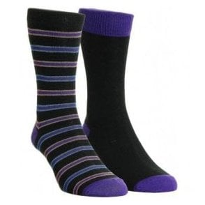 Mens Stripe Cotton Rich 2 Pair Pack Socks