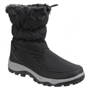 Womens Frost Black Waterproof Pull on Snow Boots