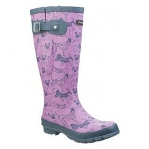 Womens Windsor Dog Print Wellington Boots