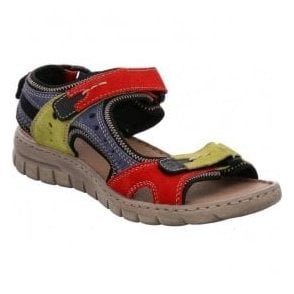 Womens Stefanie 23 Red-Multi Velcro Sandals 93423 949 402