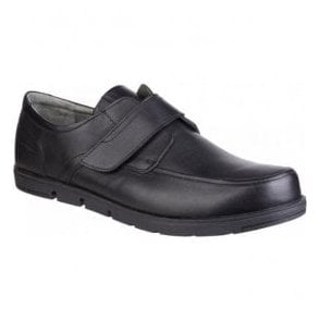 Mens Nova Black Leather Velcro Shoes
