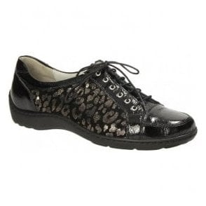 Womens Henni Black/Silver Animal Print Lace Up Shoes 496005 600 492