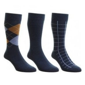 Mens Box Set Navy Multi Patterned Cotton Rich Socks