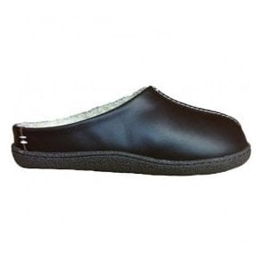 Mens Relaxed Style Brown Leather Slippers