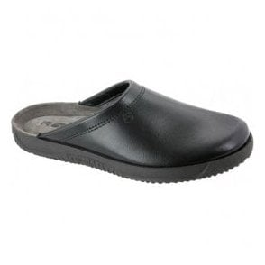 Mens Black Leather Mule Slipper 2779 90