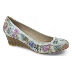 Womens Patel White Floral Wedge Pump Shoes FLC041 WT