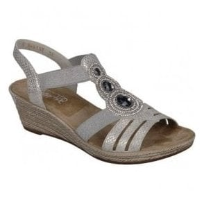 Womens Mussurana White Elastic Sandals 62459-80