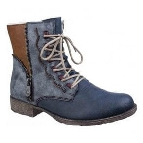 Womens Navy Multi Warm Lined Lace-up Ankle Boots 70805-14