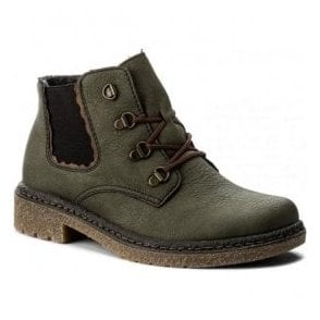 Green Lace-Up Ankle Boots 53234-54